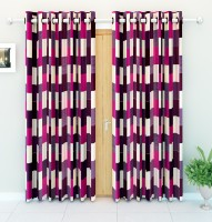 Story@Home Polyester Purple Printed Eyelet Door Curtain(215 cm in Height, Pack of 2)