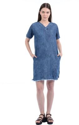 Pepe Jeans Womens Shift Dark Blue Dress