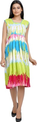 10 STAR Womens Fit and Flare Multicolor Dress