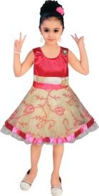 MKB Baby Girl's Midi/Knee Length Casual Dress(Pink, Sleeveless)