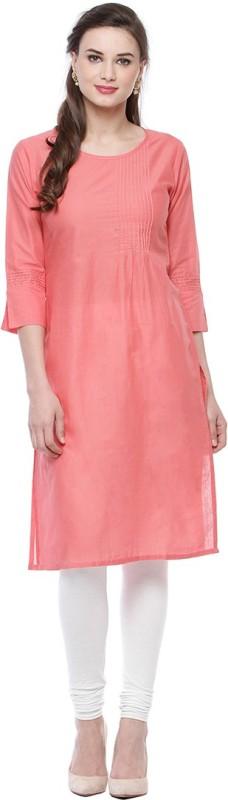 Ananj Casual Solid Women's Kurti(Pink)