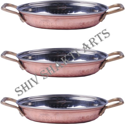Shivshakti Arts Set Of 3 Handmade Pure Hammered Designed Steel Copper Platter No 1 Tray With Brass Handles Serveware Dinnerware Hotelware Kitchenware Tray Set(Pack of 3)