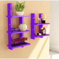 Onlineshoppee Escalera Set of 2 MDF Wall Shelf(Number of Shelves - 5, Purple)