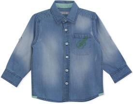 MINI KLUB Boys Self Design Casual Blue Shirt