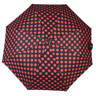 Asera 3 Fold Automatic Open Polka Dot Umbrella(Black)