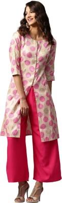 Libas Floral Print Women's A-line Kurta(Beige) at flipkart