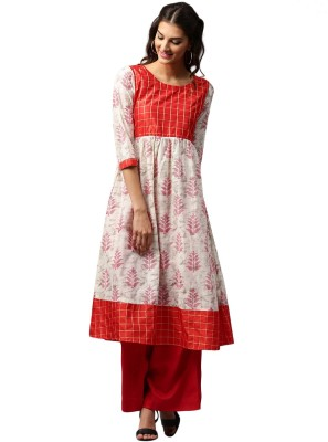 Libas Floral Print Women's Anarkali Kurta(Red) at flipkart