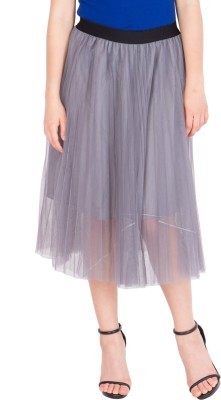 Tops and Tunics Solid Women's Gathered Grey Skirt at flipkart