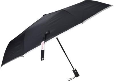 Murano Silver Piping 3 Fold auto open Auto close with Safety Black Umbrella(Black, Silver)
