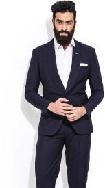 Mr Button Solid Single Breasted Casual Men's Blazer(Black)