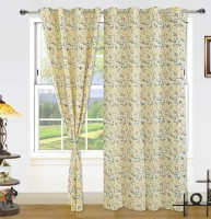 DEKOR WORLD Cotton Beige Solid Eyelet Window Curtain(150 cm in Height, Pack of 3)