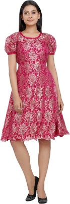 10 STAR Womens Fit and Flare Pink Dress