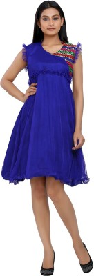 10 STAR Womens Fit and Flare Blue Dress