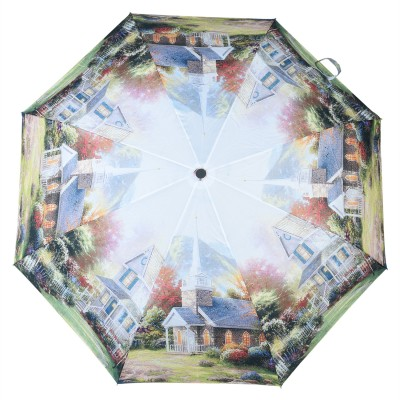 Asera 3 Fold Automatic Open Scenery Umbrella(Multicolor)