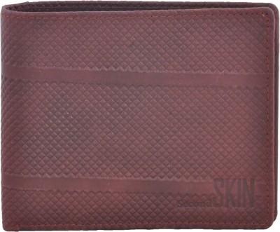 Second Skin Men Beige Genuine Leather Wallet(10 Card Slots)