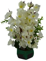 The Fancy Mart Artificial Cherry Blossom Flowers (size 12 inchs/ 30 cms) With Wood Pot - AF-1340 White Wild Flower Artificial Flower  with Pot(11.81 inch, Pack of 1)