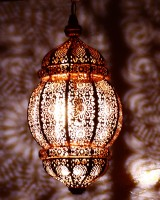 Anasa Decorative Hanging Metal Moroccan Lantern Lamp Brown Iron Lantern(42.5 cm X 20 cm, Pack of 1)