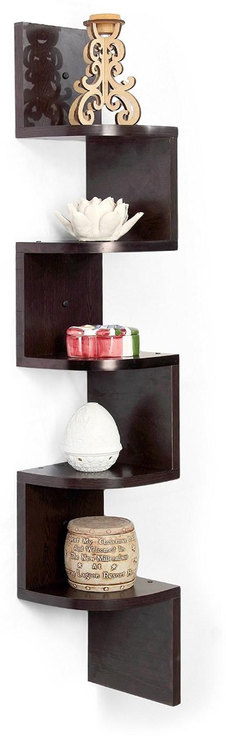 View trendytrendy Amaze Corner MDF Wall Shelf(Number of Shelves - 5, Brown) Furniture (trendytrendy)