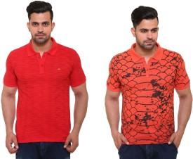 In Love Printed Men's Polo Neck Red, Orange T-Shirt(Pack of 2)