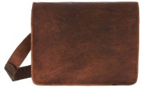 CraftShades Handmade Leather Messenger Bag Medium Briefcase - For Men(Brown)