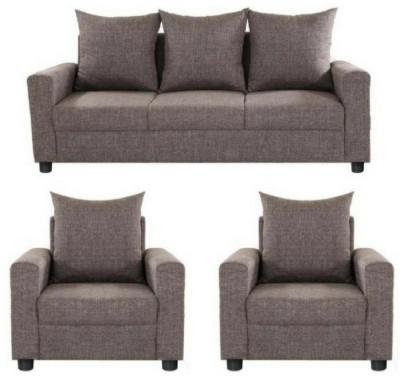 GIOTEAK classy Solid Wood 3 + 1 + 1 Brown Sofa Set