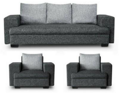 GIOTEAK classy Solid Wood 3 + 1 + 1 Grey Black Sofa Set