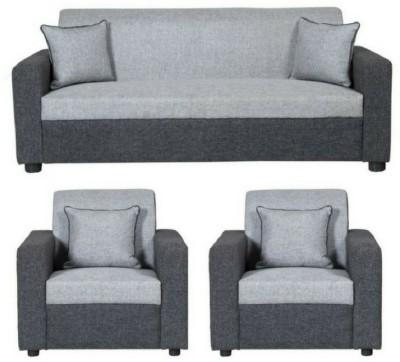 GIOTEAK classy Solid Wood 3 + 1 + 1 Light Grey and Grey Black Sofa Set