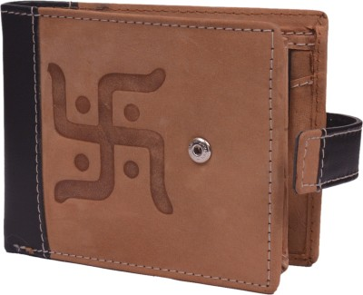 Krosshorn Men Tan Genuine Leather Wallet(9 Card Slots)