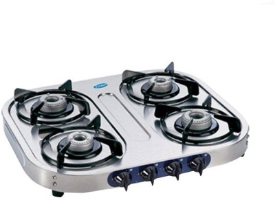 Glen Glen GL-1044 SS-AL Gas Cooktop Stainless Steel Manual Gas Stove(4 Burners)