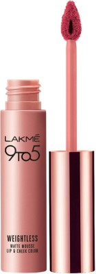 Lakme 9 to 5 Weightless Mousse Lip & Cheek Color(9 g, Plum Feather)