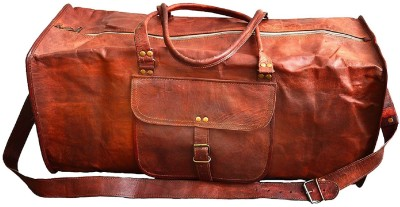 Pranjals House genuine leather 24 duffle bag (Expandable) Travel Duffel Bag(Brown)