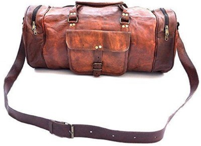Pranjals House genuine leather 22 Inches Luggage Duffle Bag (Expandable) Travel Duffel Bag(Brown)
