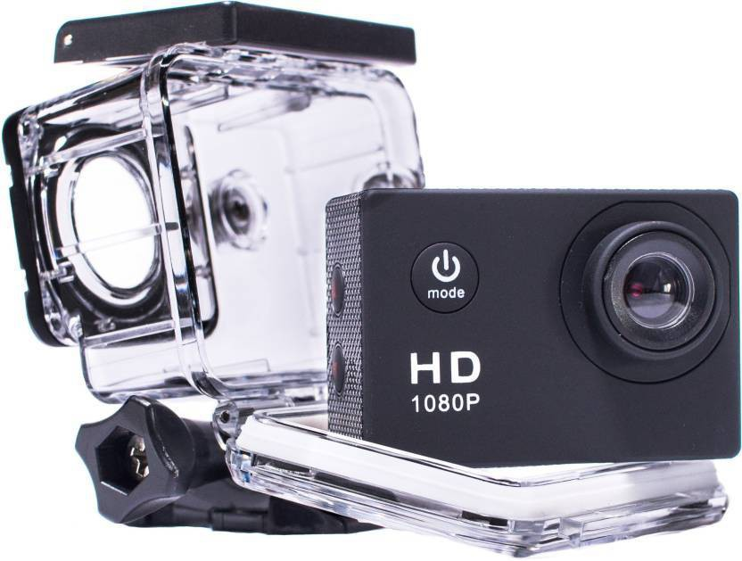 View Doodads Action pro D-1080p Full HD Sports Cam Waterproof 30 M (2 Inch Screen) DSLR Camera Super Wide Angle Lens 140 Degree(Black) Camera Price Online(Doodads)