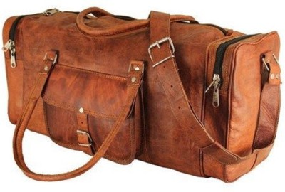 Pranjals House real leather duffle bag for travel (Expandable) Travel Duffel Bag(Brown)