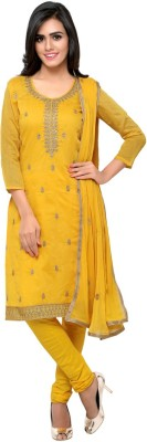 Saara Chanderi Floral Print, Paisley, Embroidered Salwar Suit Dupatta Material(Un-stitched) at flipkart