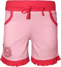 Kothari Short For Girls Casual Solid Cotton(Pink, Pack of 1)