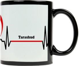 Muggies Magic Tarashud Heart Beat Design High Quality Printed Black Petch Ceramic Mug(325 ml)