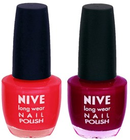 Nive Colour Blast Nail Polish 13102304 Red,Pink(24 ml, Pack of 2)
