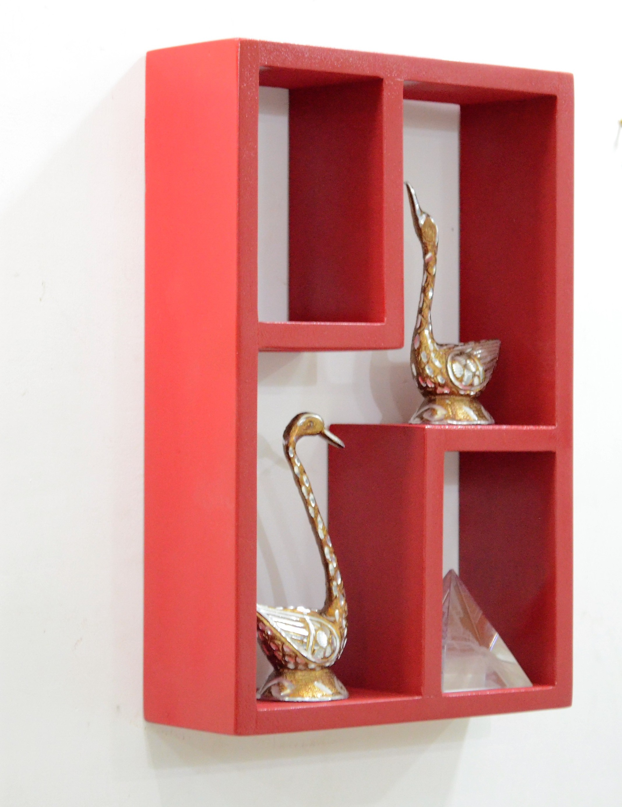 View Devarth Inaerio MDF Wall Shelf(Number of Shelves - 3, Red) Furniture (Devarth Interio)