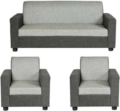 gioteak Solid Wood 3 + 1 + 1 Grey Sofa Set