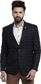Canary London Checkered Single Breasted Casual Men's Blazer(Black, Blue)