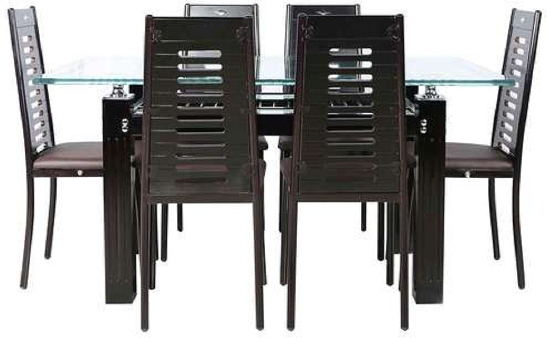 View parin Glass 6 Seater Dining Set(Finish Color - brown) Furniture (Parin)