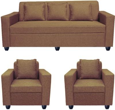 Bharat Lifestyle Lexus Solid Wood 3 + 1 + 1 Dark Brown Sofa Set