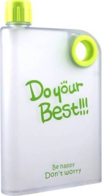 Skywalk 1 piece Flat BPA-Free Portable Notebook Slim water Bottle, DO YOUR BEST 380 ml Bottle(Pack of 1, Green)