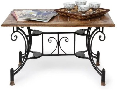 Onlineshoppee Wood & Iron Metal Coffee Table(Finish Color - Antique Brown)