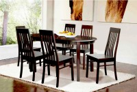 FurnCulture Umbria Solid Wood 6 Seater Dining Set(Finish Color - Brown)
