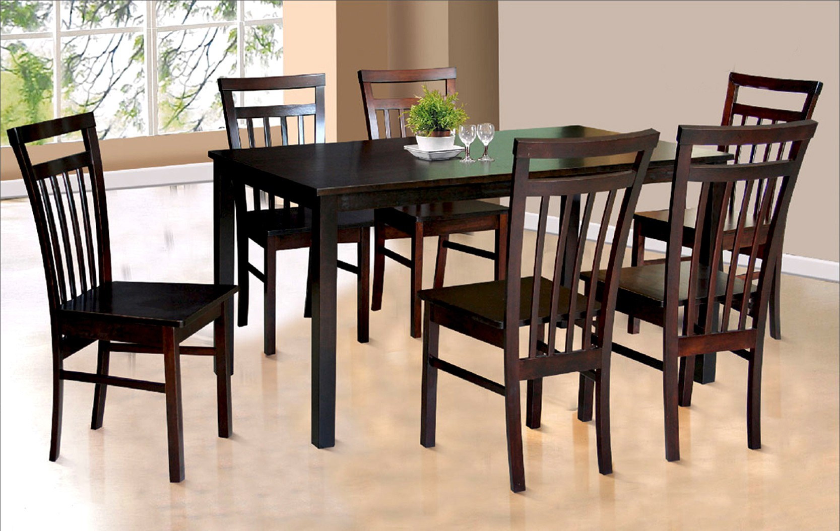 View FurnCulture Calabria Solid Wood 6 Seater Dining Set(Finish Color - Brown) Furniture (FurnCulture)