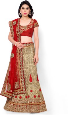 Naaidaakho Silk Embroidered Lehenga Choli Material(Un-stitched)