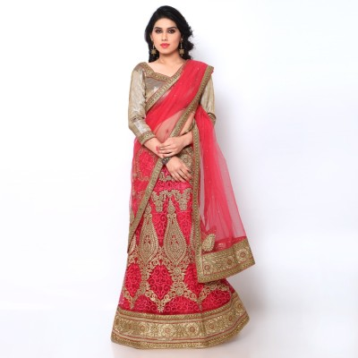 Naaidaakho Net Embroidered Lehenga Choli Material(Un-stitched)