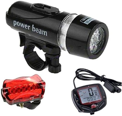 FurMito Bicycle Set of Speedometer LED Front Rear Light Combo(Black, Silver, Red)